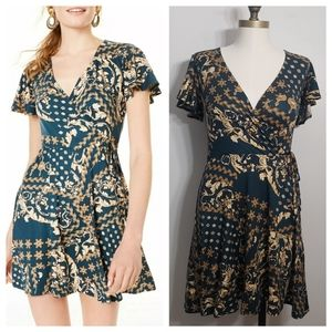 BCX green printed short sleeve fit and flare dress